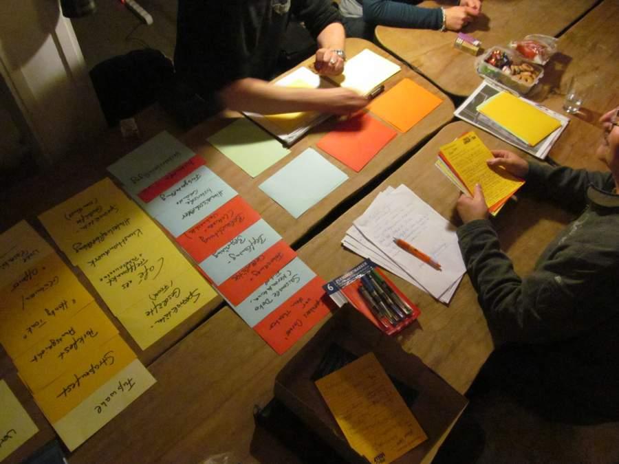 Viele farbige, handbeschriebene Zettel liegen zusammen mit Stiften auf einem Tisch, an dem Leute sitzen.