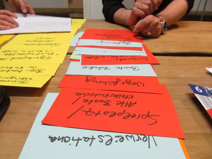 Zettel mit notierten Ideen zur Stadtteilverbesserung in Nahaufnahme.