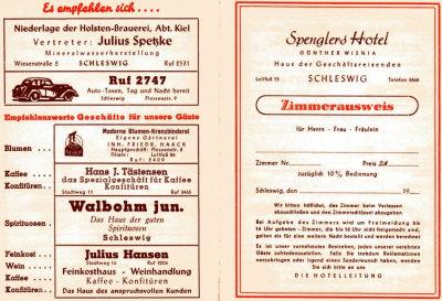 Ein alter Zimmerausweis, den wir auf einem Dachboden im Lollfuß gefunden haben.