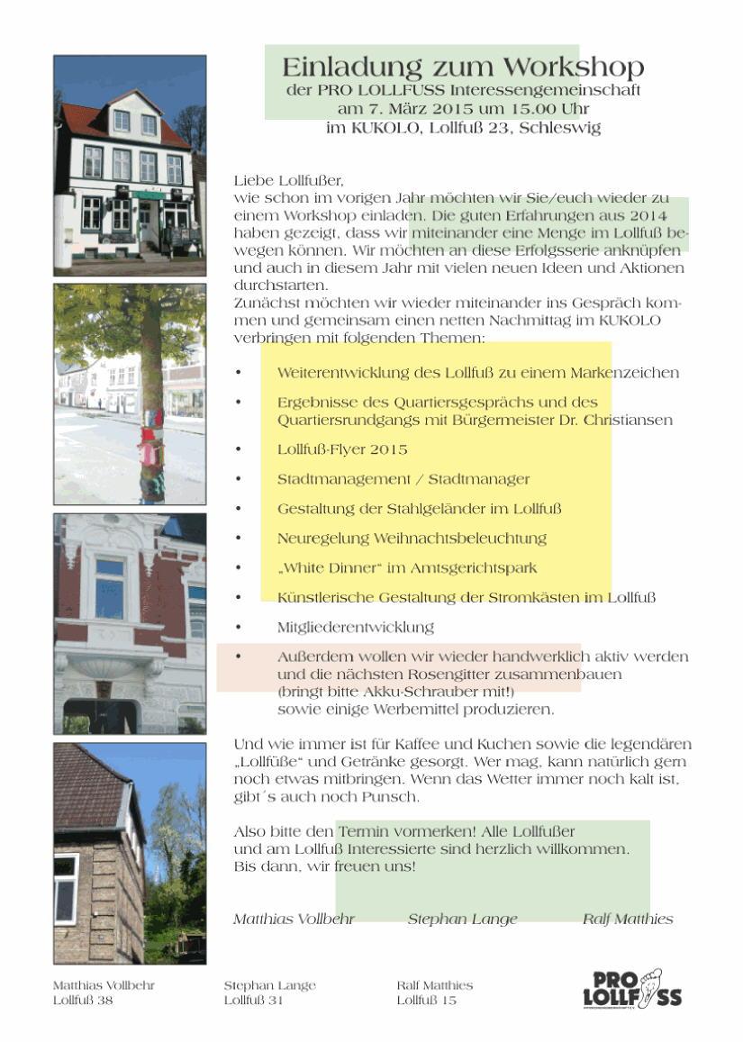Plakat zur Einladung, neben dem Text sind kleine Bilder mit Details von Gebäuden und Ansichten der Straße eingefügt.