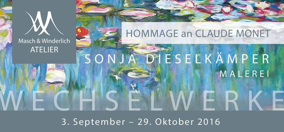 Grafik mit Hintergrundgestaltung nach Monet-Malerei, davor die Datem zur Ausstellung, siehe Text