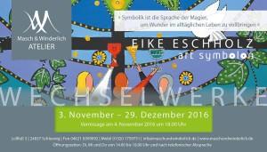 """Grafik zur Vernissage von Eike Eschholz mit dem Text """"Symbolik ist die Sprache der Magier, um Wunder im alltäglichen Leben zu vollbringen"""""""