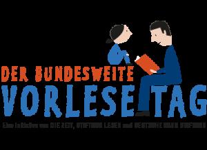 Der bundesweite Vorlesetag: Das Logo des Vorlesetages zeigt gezeichnet einen sitzenden Mann, der einem Kind mit Pferdeschwanz aus einem Buch vorliest.