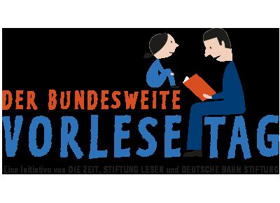 Das Logo des Vorlesetages zeigt gezeichnet einen sitzenden Mann, der einem Kind mit Pferdeschwanz aus einem Buch vorliest.