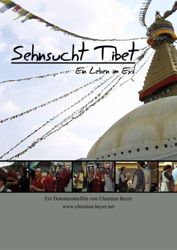 """Filmplakat von """"Sehnsucht Tibet"""", das das wimpelgeschmückte Dach eines tibetischen Tempels zeigt."""